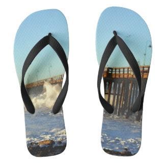 Ocean Wave Storm Pier Flip Flops