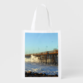 Ocean Wave Storm Pier Grocery Bags
