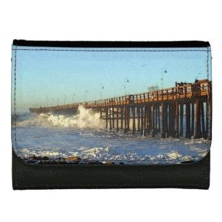 Ocean Wave Storm Pier Leather Wallet