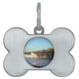 Ocean Wave Storm Pier Pet ID Tag