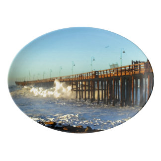 Ocean Wave Storm Pier Porcelain Serving Platter