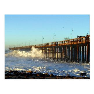 Ocean Wave Storm Pier Postcard