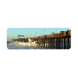 Ocean Wave Storm Pier Return Address Label