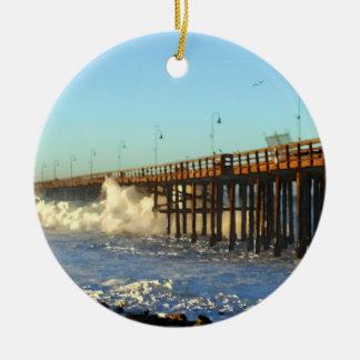 Ocean Wave Storm Pier Round Ceramic Ornament