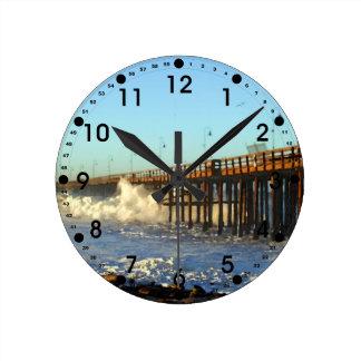 Ocean Wave Storm Pier Round Clock