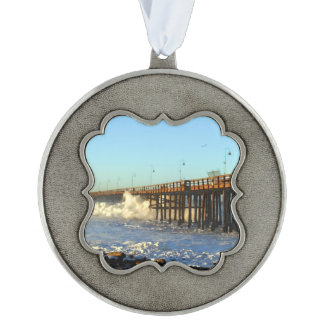Ocean Wave Storm Pier Scalloped Pewter Ornament