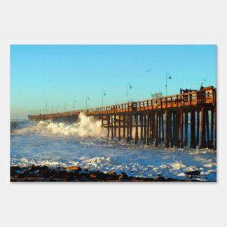 Ocean Wave Storm Pier Sign