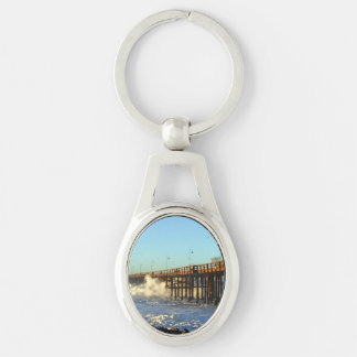 Ocean Wave Storm Pier Silver-Colored Oval Keychain