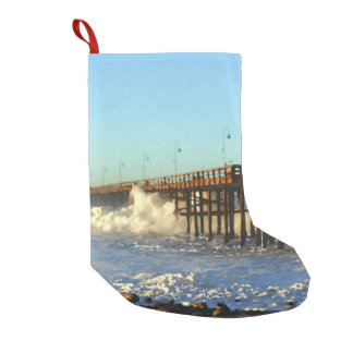 Ocean Wave Storm Pier Small Christmas Stocking
