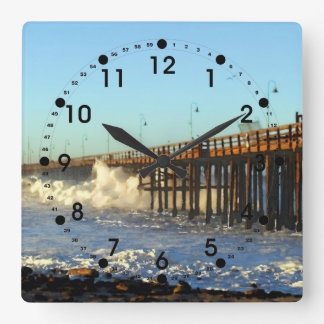 Ocean Wave Storm Pier Square Wall Clock