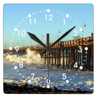 Ocean Wave Storm Pier Square Wall Clock