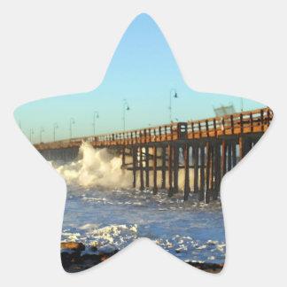 Ocean Wave Storm Pier Star Sticker