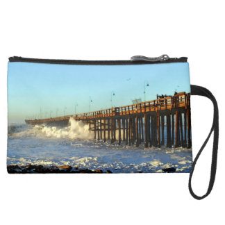 Ocean Wave Storm Pier Suede Wristlet
