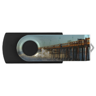 Ocean Wave Storm Pier Swivel USB 2.0 Flash Drive