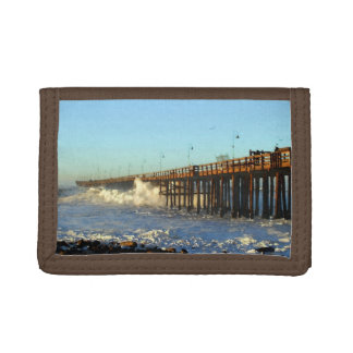 Ocean Wave Storm Pier Trifold Wallet