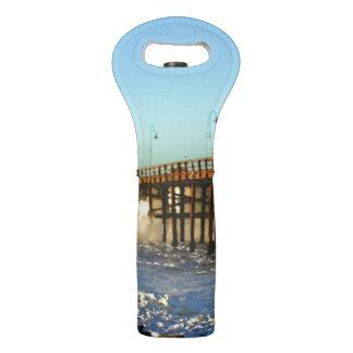 Ocean Wave Storm Pier Wine Bag