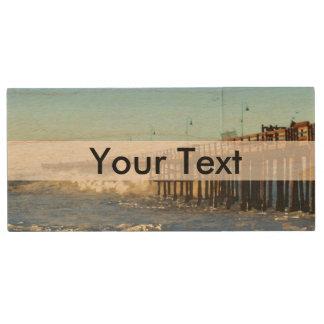 Ocean Wave Storm Pier Wood USB 2.0 Flash Drive