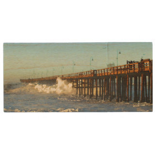 Ocean Wave Storm Pier Wood USB 2.0 Flash Drive