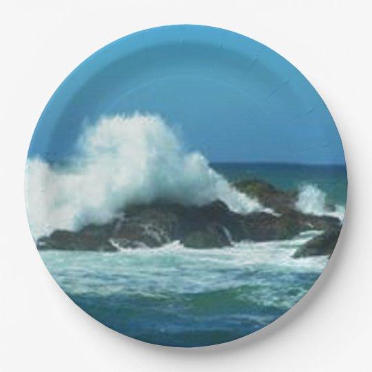 Ocean Waves 9 Inch Paper Plate