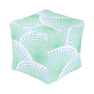 Ocean Waves Abstract Square Pouf