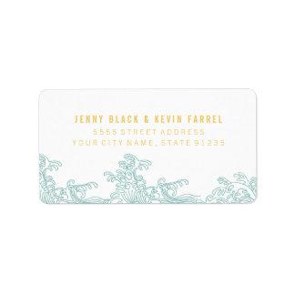 Ocean Waves Address Labels - Blue & Gold