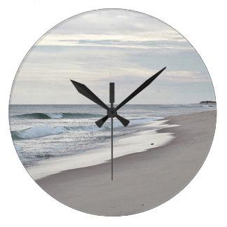 Ocean waves and beach large clock