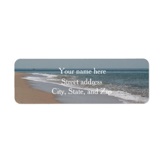 Ocean waves and beach return address label