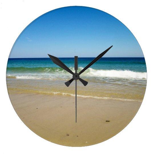 Ocean waves and beach wall clock