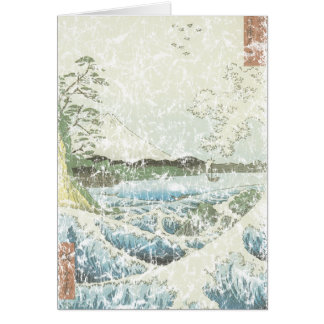 Ocean waves and Mt Fuji Card