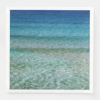 Ocean Waves Aqua Blue Abstract Art Paper Napkins