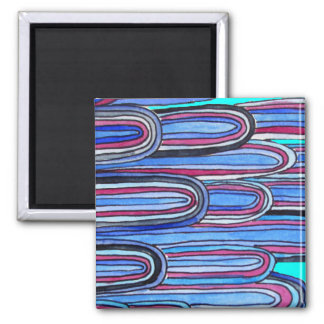 Ocean Waves aqua blue pattern Square Magnet