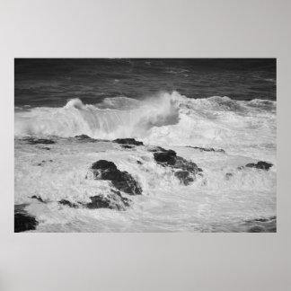 Ocean Waves at Cliffs in Kilauea Poster