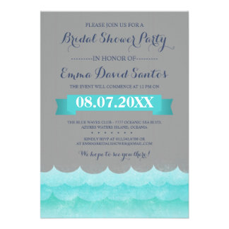 Ocean Waves Beach Bridal Shower Custom Invitation
