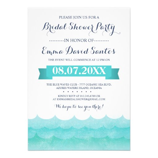 Ocean Waves Beach Bridal Shower Personalized Invitations