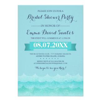 Ocean Waves Beach Bridal Shower Custom Invitations