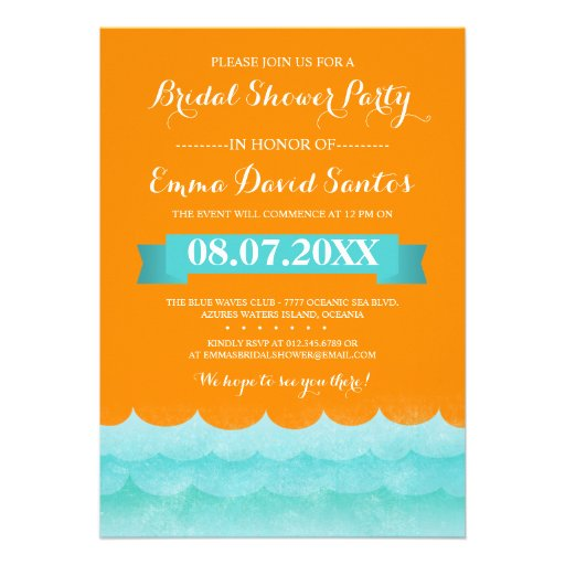 Ocean Waves Beach Bridal Shower Custom Invites