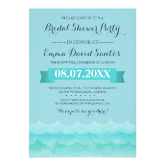 Ocean Waves Beach Bridal Shower Invite