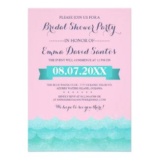 Ocean Waves Beach Bridal Shower Custom Invite