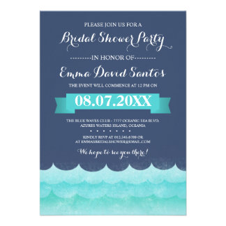 Ocean Waves Beach Bridal Shower Personalized Invite
