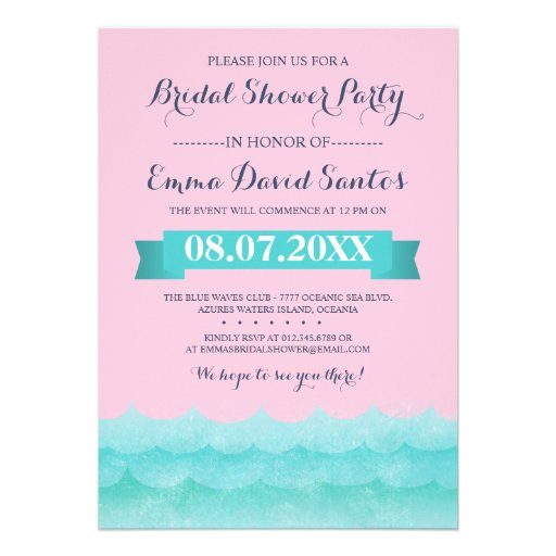 Ocean Waves Beach Bridal Shower Personalized Invitation