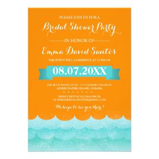 Ocean Waves Beach Bridal Shower Personalized Announcement