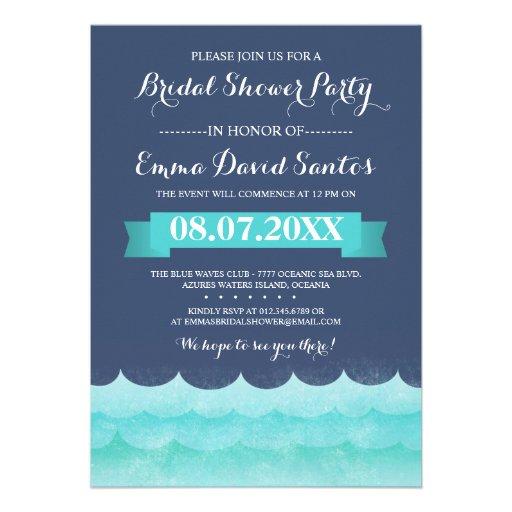 Ocean Waves Beach Bridal Shower Custom Announcement