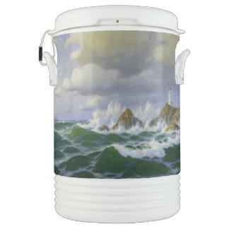 Ocean Waves Beach Lighthouse Igloo Cooler