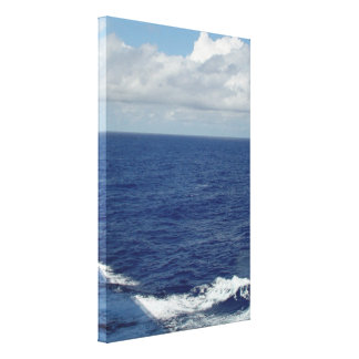 Ocean Waves Fluffy White Clouds Blue Sky Canvas
