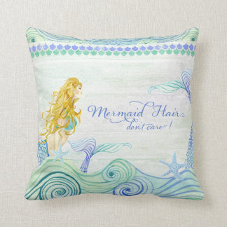 Ocean Waves Mermaid Hair Tail Wooden Saying Sign Throw Pillow