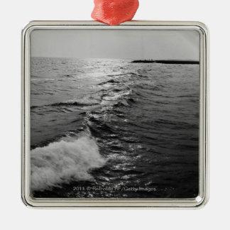 Ocean waves metal ornament