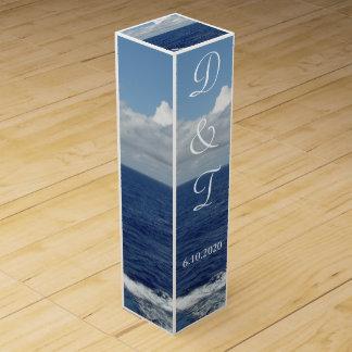 Ocean Waves Monogrammed Wedding Wine Box Favors