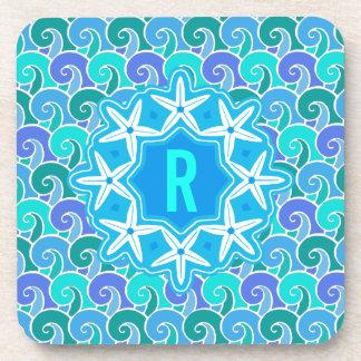 Ocean Waves Nautical Beach Starfish Monogram Blue Coaster