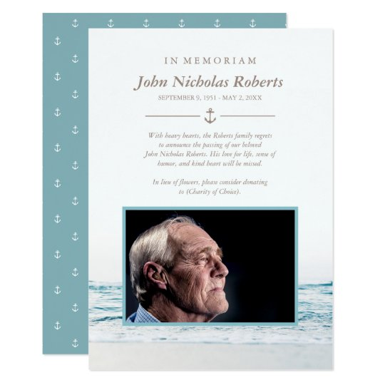 Ocean Waves Nautical In Memoriam Photo Card