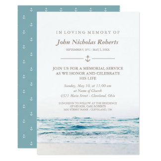 Ocean Waves Nautical Memorial Service Card